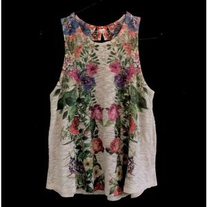 Ginger G Floral Print Tank Top Size Large